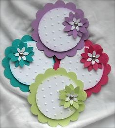 A really cute set of brightly colored embellishments perfect for the Easter holiday. I have used four bold and bright colored textured cardstock