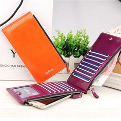 Women Men Waxy Ultrathin Leather Long Purse Elegant Card Multi Holder Phone Bags Coin Bags - Banggood Mobile