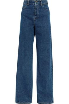 Y/PROJECT Creative Director Glenn Martens takes our denim obsession to a whole new level with these jeans - they are cutout and layered at the waistband and back. Made from dark-blue denim, this high-rise pair has a wide shape through the leg inspired by men's styles. Wear yours with heels.