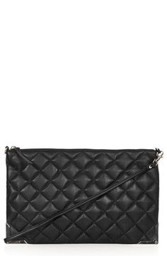 Topshop Metal Corner Quilted Leather Clutch available at #Nordstrom