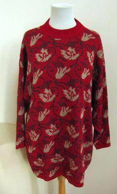 Vintage Ugly Holiday Christmas Party Sweater 2X Mathias Red Green Gold Jacquard #Mathias #Crewneck #Christmas