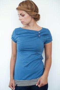 Tops - Jersey Shirt - blau - Knöpfe - gestreift - ein Designerstück von stadtkind_potsdam bei DaWanda