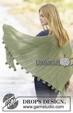 вязаная спицами красивая шаль