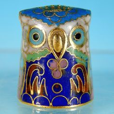 Vintage FIGURAL OWL Cloisonne Enamel Thimble Collectible from abesilvermanantiques on Ruby Lane