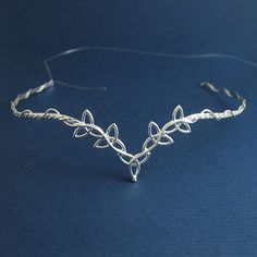 Celtic Wedding Bridal Circlet Headpiece in Sterling silver, Trinity Knot Design, Handmade via Etsy