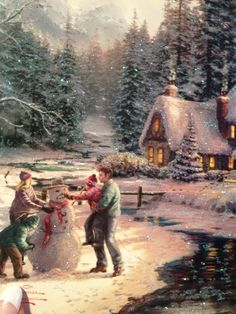 thomas kinkade christmas pictures | Holiday at Winter's Glen by Thomas Kinkade