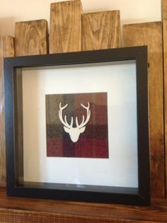 Hand-made Scottish Wooden Stag Head Picture Moon Tartan Wool Fabric Antler | eBay