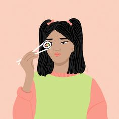 Inspired by sushi and kawaii fashion My Portfolio, Kawaii Fashion, Sushi, Disney Characters, Fictional Characters, Inspired, Disney Princess, Art, Art Background