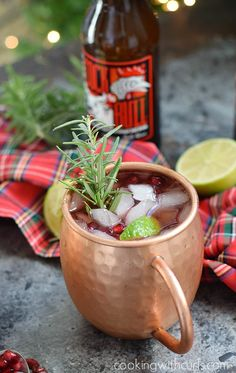 This Pomegranate Yule Mule is so simple make, you just need pomegranate juice, vodka, ginger beer, limes, and some ice for the perfect holiday cocktail!