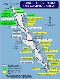 Principal RV Parks and Camping in Baja map Estero Beach, Road Trip Map, Road Trips, Camping Spots, Rv Camping, Glamping, Backpacking, Baja California Sur, México City