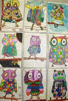 Wise owls, done using re-purposed dictionary pages, markers, and Sharpie. Grade 2.