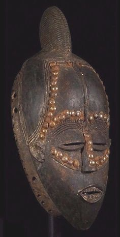 African Tribal Sculpture: Original Bete Mask with Metal Studs /Custom stand