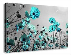 Teal Flowers Framed Canvas Picture