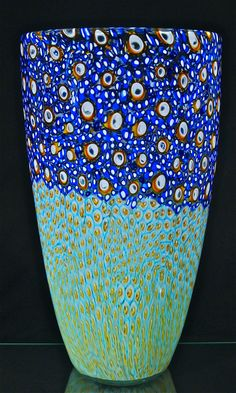 "2016 blown glass murini vessel by Michael Egan 16""X9"". beautiful! and found on Artfulhome.com"