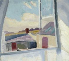 A Border Day (Morning, Bankshead) by Ivon Hitchens. Museums: The Ashmolean Museum of Art and Archaeology, Oxford, UK; The Ashmolean Museum of Art; Medium: Oil on canvas; Open Window, Window Art, Window Sill, Abstract Landscape, Landscape Paintings, Landscapes, Modern Artists, Art Uk, Your Paintings
