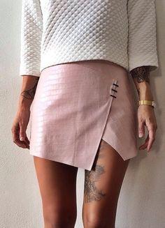 Pinterest | @OhHauteChic Light blue faux leather skirt from jhanae's closet on poshmark