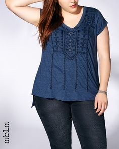 mblm Short Sleeve Embroidered Top