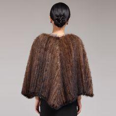 ZDFURS * fashion fur shawl  mink fur knitted shawl quality mink fur poncho ladies short style