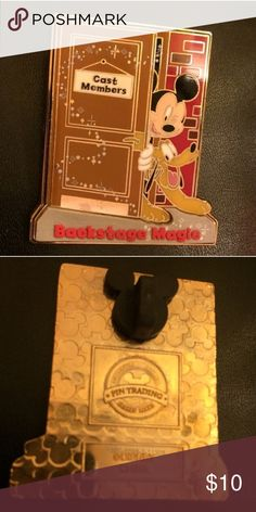 "AUTHENTIC Disney Collectors ""Backstage Magic"" Pin Mickey and Pluto ""Cast Members - Backstage Magic""  (2010) This pin is hard to find because it cannot be purchased at Disney stores or kiosks.  Only those who go on a behind the scenes Disney tour receive a pin. Excellent condition - Wore on my shirt the day received and since has been in safe storage. *INCLUDES the Mickey head pin back. Disney Jewelry Brooches"