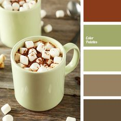 beige, color of cinnamon, color of green, color of moss, color of tree, gray, gray-beige color, green, lime green, orange-cream color, selection color, shades of beige, shades of brown, shades of green, warm brown, wood color.