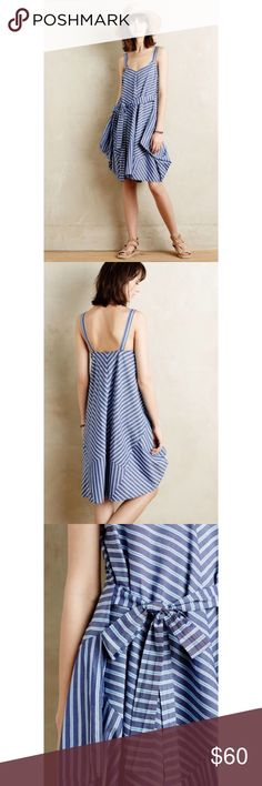 Anthropologie Holding Horses Settimia Blue Dress Holding Horses Settimia Blue Stripe Dress  Perfect for the summer!  Size: Tag reads XS/S Anthropologie Dresses Midi