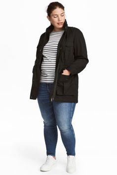Short parka in a sturdy cotton weave with an integral hood and high stand-up collar with a zip and drawstring. Zip and wind flap down the front, concealed e Parka, Plus Size Womens Clothing, Clothes For Women, Rain Jacket, Bomber Jacket, H&m Shorts, Online Shopping Clothes, Fashion Online, Black Women