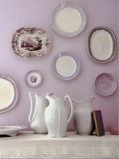 Dish wall art on lavender wall