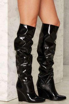 Nasty Gal Kiran Patent Wedge Boot