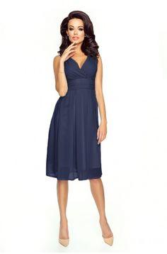 Sukienka z szyfonu kopertowy dekolt NA WESELE Km117-11 GRANAT
