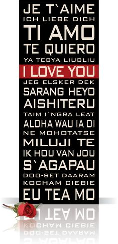 """I love you"" in 18 languages"