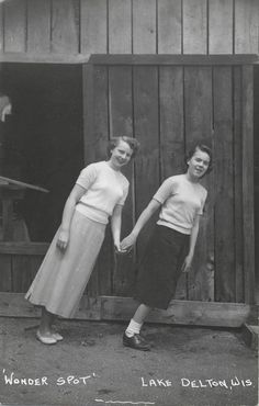 Date unknown Two women pose together at the Wonder Spot in Lake Delton, Wisconsin. (via Andy Kraushaar)