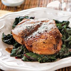 Maple-Balsamic Glazed Swordfish Steaks. Making this tomorrow night! I feel like a Rockefeller. But I'm doing a garlic Chard with it.