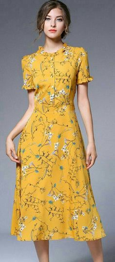 Buy Yellow Chiffon Floral Print Falbala Skater Dress with High Quality and Lovel. - Buy Yellow Chiffon Floral Print Falbala Skater Dress with High Quality and Lovel… – Source by - Cute Dresses, Vintage Dresses, Casual Dresses, Vintage Outfits, Pretty Dresses For Women, Vintage Inspired Dresses, Summer Dresses For Women, Flower Dresses, Spring Dresses