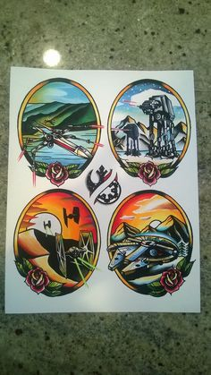 Star Wars ship/ nature inspired tattoo flash print