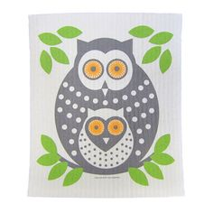 Owls, Green Cellulose Dishcloth