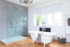 The streamlined shower and roll-top bath both feature nickel brassware. Bathroom Layout, Bathroom Interior Design, Bathroom Ideas, Bathroom Inspo, Family Bathroom, Small Bathroom, Master Bathroom, Edwardian Bathroom, Loft Design