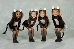 Super cute Monkey dance recital costumes.  A long sleeve stretch velvet leotard with attached half skirt over a half tutu with a wired tail in back;  and of course, monkey ears! Soft, comfortable, and absolutely adorable!  Custom sewn by Irishandmore.etsy.com