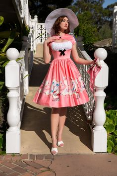 Cute style tea length dress in pin up pink vintage Mary Blair print. Blair Dress, Mary Blair, Pinup Girl Clothing, Pinup Couture, Vintage Pink, Vintage Style, Tea Length Dresses, Retro Dress, Dress Skirt
