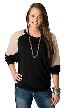 Karlie® Women's Black Knit w/ Sheer Nude Long Dolman Sleeve Fashion Top | Cavender's Boot City