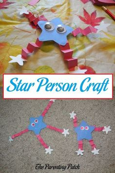 labor day crafts for kids Star Person Craft How to make a patriotic red, white, and blue star person from construction paper for Memorial Day, Flag Day, I 4th July Crafts, Fourth Of July Crafts For Kids, Patriotic Crafts, Patriotic Symbols, Patriotic Party, Daycare Crafts, Toddler Crafts, Preschool Crafts, Kids Crafts