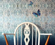 Chapelle Noon mixed with Chapelle Morpho and Chapelle Blush wallpepers.Butterfly wallpaper. Blackpop.co.uk