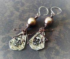 Rustic Skull-Pearl Earrings-Pirate Earrings-Festval