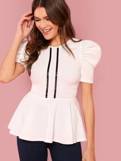 Preppy Ruffle and Ruffle Hem and Zipper Striped Peplum Regular Fit Round Neck Short Sleeve Pullovers Beige Regular Length Striped Front Puff Sleeve Peplum Top - women Life ideas Peplum Tops, Peplum Blouse, Ruffle Blouse, Fashion News, Fashion Outfits, Fashion Online, Fashion Trends, Types Of Sleeves, Fitness Fashion
