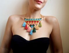 Tassel colorful crochet necklace with golden colored by bibatron