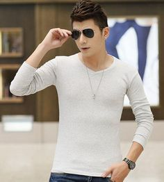 Wholesale Cotton Clothing - Buy Cotton Clothing Long Sleeve Frozen Clothes Mens Shirts High-elastic Men's Stylish Dress Shirts V Neck Casual Dress Solid Colors, $5.24 | http://www.dhgate.com/store/16974853#st-navigation-storehome