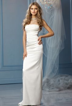 Brides: Wtoo. Strapless sheath dress with ruched bodice and puddle train.
