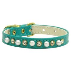 Mirage Pet Products 3/8-Inch Pearl and Clear Crystals Pet Collar, Size 8, Turquoise *** Check out the image by visiting the link.