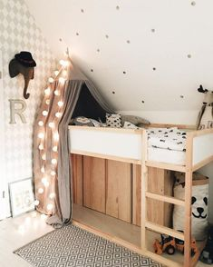 Ikea have created a wonderful toddlers bed that is perfect for customising in whatever way you like. You can hack the Ikea KURA bed to fit i. Ikea Bedroom, Baby Bedroom, Bedroom Themes, Bedroom Decor, Childs Bedroom, Ikea Nursery, Bedroom Hacks, Kura Bed Hack, Ikea Kura Hack