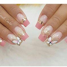 Gradient Nails, Gold Glitter Nails, Gel Nails, Nail Nail, Pink Nail Designs, Fall Nail Designs, Acrylic Nail Designs, Wedding Nails For Bride, Bride Nails
