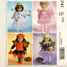 """A Spring, Summer, Autumn & Winter Fairy Costumes Pattern for 18"""" Dolls by So Sew Some!"""